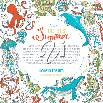 Whale, dolphin, turtle, fish, starfish, crab, shell, jellyfish, octopus, seahorse, algae. Underwater wild animals and plants. There is place for your text on white.