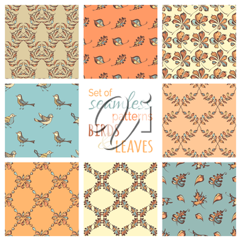 Hand-drawn pastel birds and leaves on coloured backgrounds. Oak, maple, birch, rowan, chestnut leaves. Pastel boundless backgrounds.