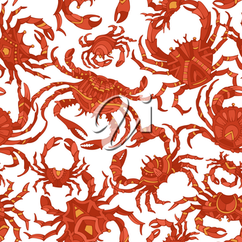 Various hand-drawn red crabs on white background. Boundless background for your design.