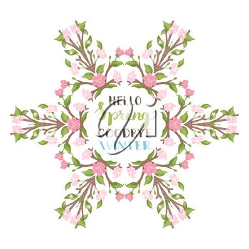 Spring blossoms on branches. Spring tree card template. There is copyspace for your text in the center.
