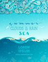 Doodles clouds and rain, waves and underwater life. Hand-drawn swirls, spirals, drops, strokes and curls. There is copy space for your text in the sky and undersea.