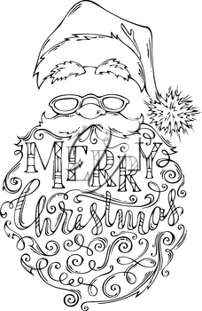 Santa Claus face with lettering in his beard. Hand-drawn vector illustration. Can be used for colouring book.