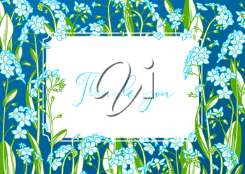 Forget-me-nots. Tiny blue flowers and green leaves. There is copy space for your text on white paper. A5 landscape format paper size with bleed 2 mm.