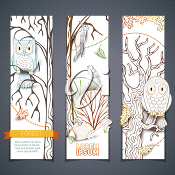 Outlined owl, hedgehog, woodpecker, mushrooms, trees and leaves made in cartoon style. Autumn woodland elements. Linear nature backgrounds.