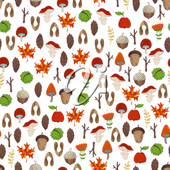 Cartoon maple seeds, apples, tree branches, autumn leaves, mushrooms, fir-cones, flowers, acorns and chestnuts. Bright boundless background.