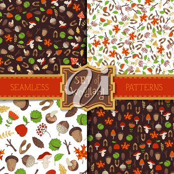 Tree branches, autumn leaves, mushrooms, fir-cones, maple seeds, apples, rowan berries, flowers, acorns and chestnuts. Cartoon boundless backgrounds.