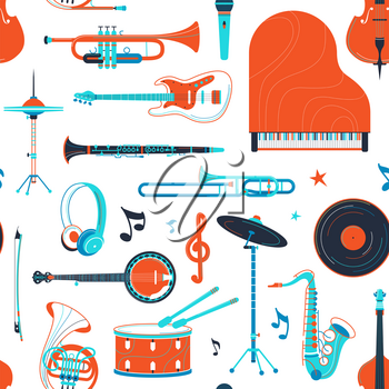 Musical instruments, equipment retro vector flat seamless pattern. Piano, banjo, saxophone texture. Percussion, strings, brass instruments. Jazz concert, music festival, rock performance background