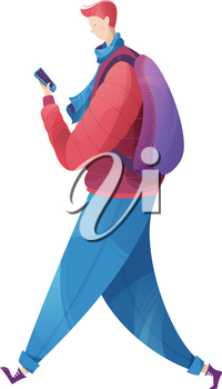 The guy dressed in outerwear. Flat vector outdoor illustration. Isolated on white background.