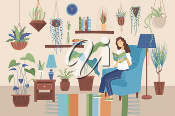 Young woman reading book at home on armchair. Stay at home concept. Happy girl relaxing with a book in room with plants growing in pots. Vector illustration in flat cartoon style.