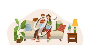 Couple in love reading books on sofa. Stay at home concept. Happy young man and woman spending weekend together. Girl and boy relaxing with book in room. Vector illustration. Family holiday at home