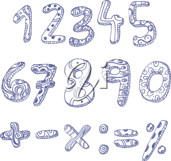 Hand drawn doddle numbers and math signs