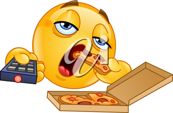 Couch potato slob emoticon watching TV and eating pizza