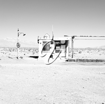blur in iran old gas station  the desert mountain background and nobody