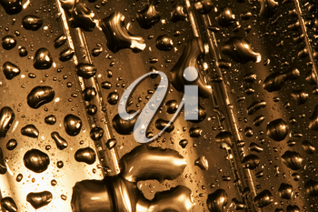 abstract gold drop in a plastic material