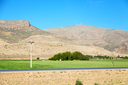 in iran blur mountain and landscape from the window  of a car