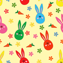 Easter seamless vector pattern with small rabbit faces, and carrots over yellow
