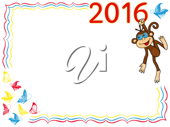 Greeting card with Funny Monkey that holds for the digit of inscription 2016 and hangs on it, cartoon vector artwork on the background with frame and butterflies