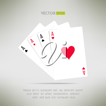 Four aces hand in realistic and clean design. Card games template. Vector illustration