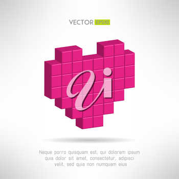 Red white heart icon in modern flat design. Social network like symbol. Vector illustration