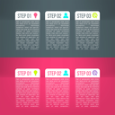 Vector business process steps infographics template. Colorful options choice with reflections, instruction or presentation circle elements.