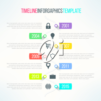Vector bright timeline template with icons suitable for business presentations and reports.