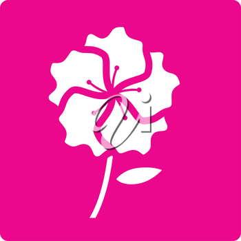 Simple flat color flower icon vector
