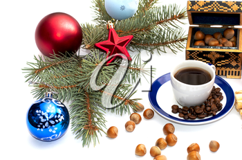coffee, fir-tree branch, casket and forest nutlets, subject hot drinks and sweets, holidays Christmas and New Year