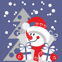 Royalty Free Clipart Image of a Snowman with Gifts