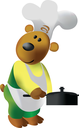 Vector. Bear cooking color 25