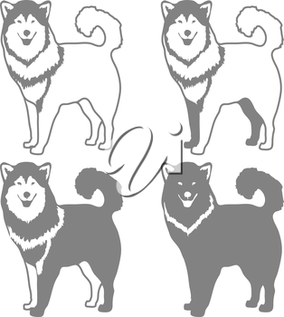 Four Different Silhouettes of dogs. Vector illustration