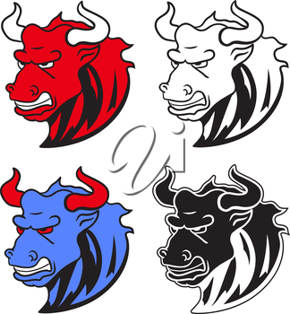 Angry wild bull in cartoon design for mascot or equestrian sports design vector illustration