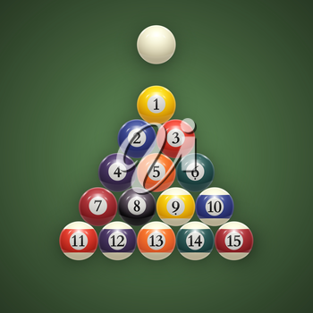 Billiard balls on table. Eps 10. vector illustration
