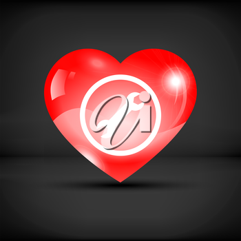 Heart with wrench icon inside on a black background