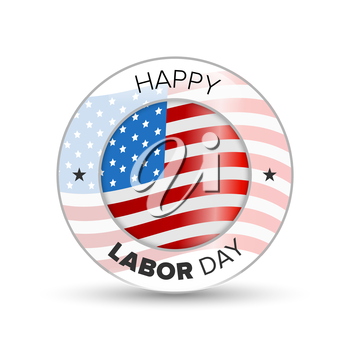 Labor Day badge with USA flag on a white background