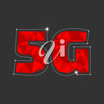 Red 5g internet banner on the black background