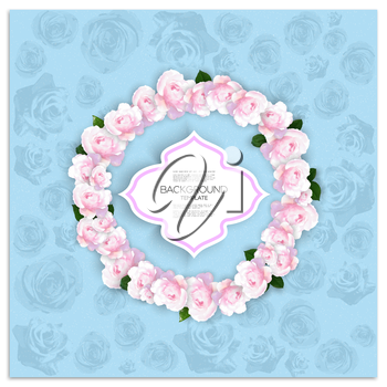 Marriage invitation card with place for text and pink flowers over blue shabby background, vector illustration.