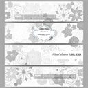 Set of modern vector banners. Hand drawn floral doodle pattern, abstract vector background