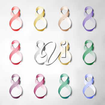 Set of ribbons for 8 March. International Womens Day. Vector icons.
