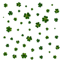 St Patricks day vector background, green clovers on white