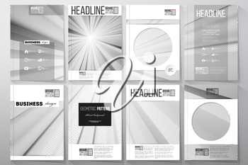 Set of business templates for brochure, flyer or booklet. Abstract lines background, simple abstract monochrome texture.