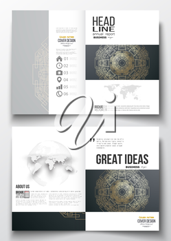 Set of business templates for brochure, magazine, flyer, booklet or annual report. Round golden technology pattern on dark background, mandala template, connecting lines and dots, connection structure