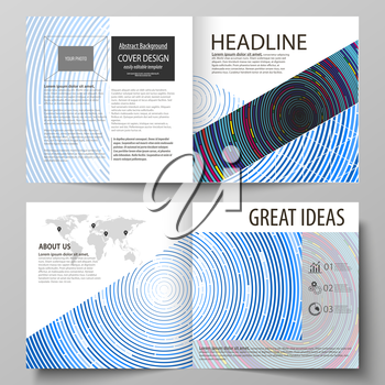 Business templates for square design bi fold brochure, magazine, flyer, booklet or annual report. Leaflet cover, abstract flat layout, easy editable vector. Blue color background in minimalist style m