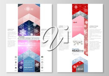 Blog graphic business templates. Page website design template, easy editable, abstract flat layout. Christmas decoration, vector background with shiny snowflakes