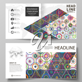Business templates for square design bi fold brochure, magazine, flyer, booklet or annual report. Leaflet cover, abstract flat layout, easy editable vector. Bright color background in minimalist style