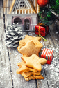 Set homemade Christmas shortbread and Christmas decorations