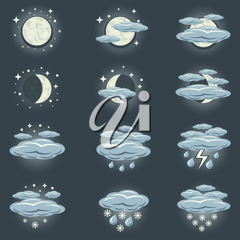 A collection of icons that show night weather