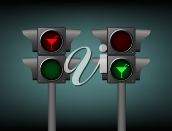Semaphore with included green and red cocktail disco party sign symbol on dark background.