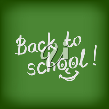 Drawing back to school text on green blackboard. Chalkboard lettering. Education sign symbols