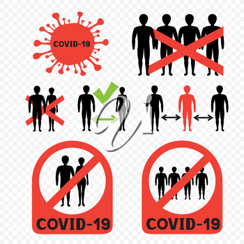 Covid-19 ban mass gatherings and keeping distance infographic. Stop coronavirus symbol. No people contract. Virus infected sticker label template. Covid-2019 biohazard sign