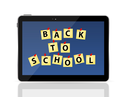 Black Tablet PC with Back to School Vector Illustration EPS10